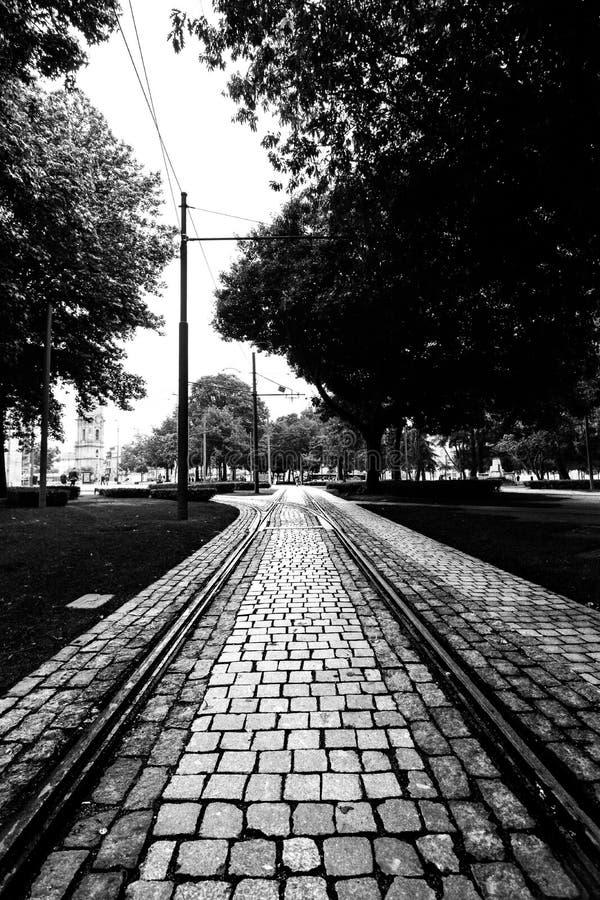 Piste del tram su una via del ciottolo a Oporto, Portogallo Immagine in bianco e nero fotografia stock libera da diritti