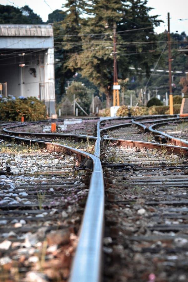 Piste del treno, città facente un giro turistico Brasile Sao Paulo fotografie stock libere da diritti