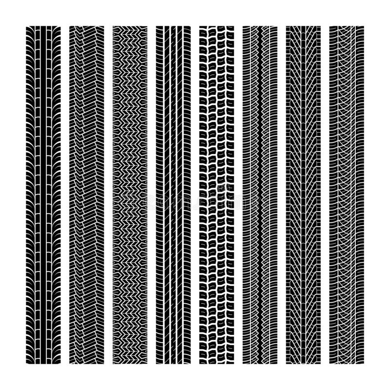 Piste della gomma Insieme senza cuciture della stampa di struttura nera di gomma della strada dell'automobile della traccia di mo royalty illustrazione gratis