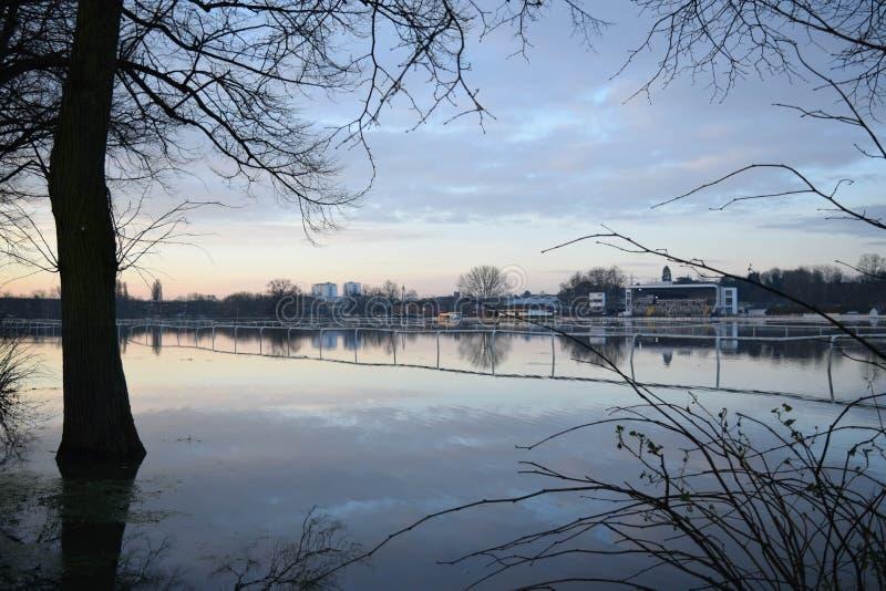 Piste inondée de Pitchcroft photos libres de droits