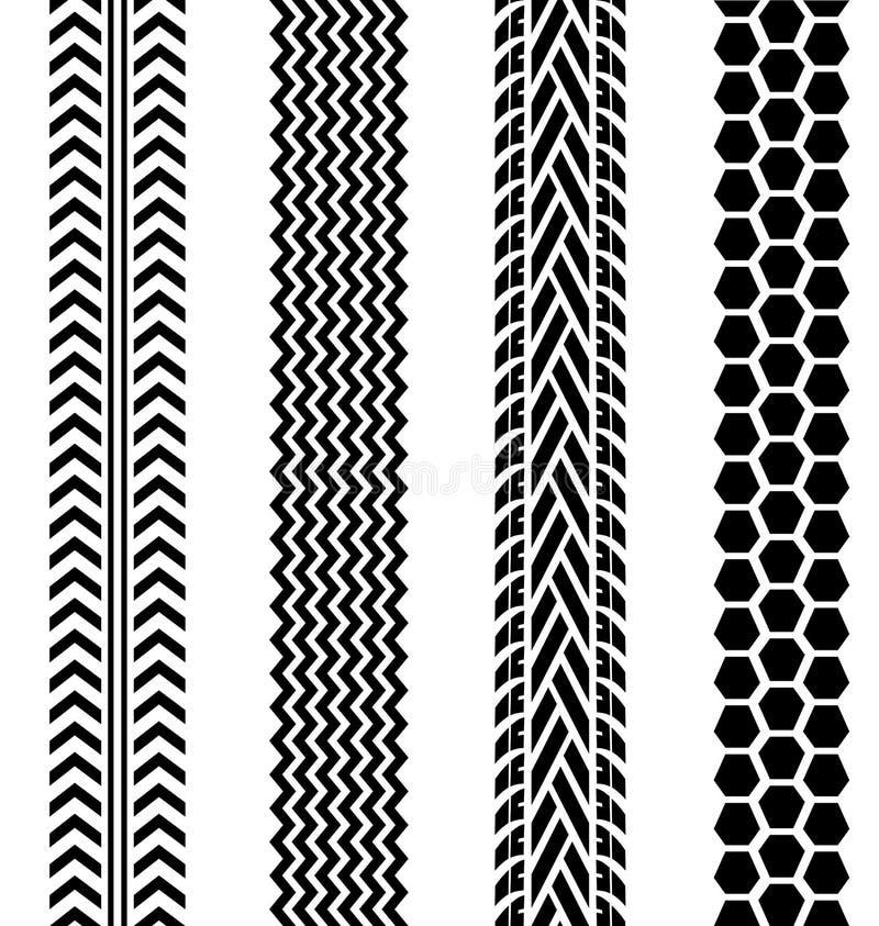 Piste nere della gomma messe su fondo bianco illustrazione vettoriale