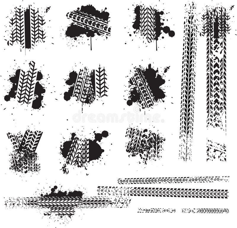 Piste sporche della gomma illustrazione vettoriale