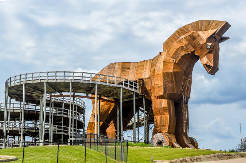 Piste Trojan Horse Go-Kart, Mt Olympus, Wisconsin Dells photographie stock