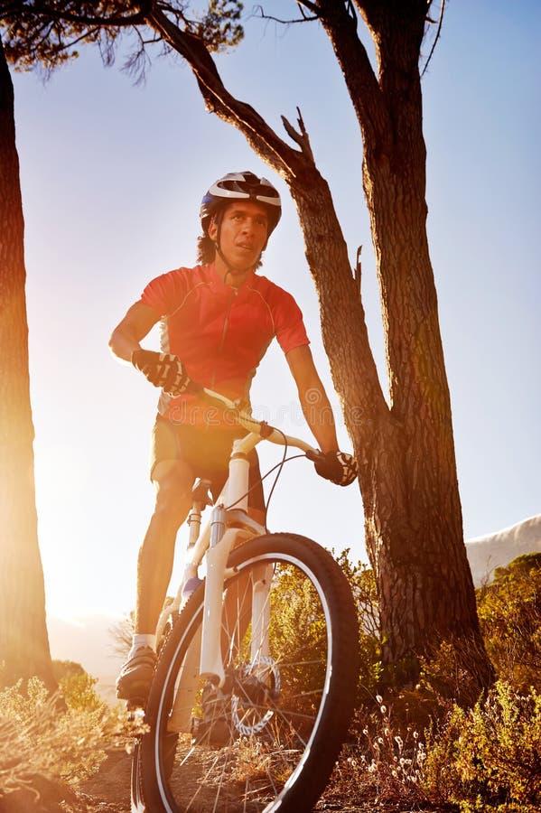 Athlète de vélo de montagne images libres de droits