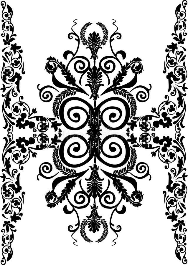 Piste verticale florale noire large illustration de vecteur
