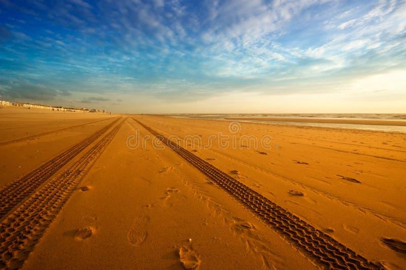 Pistes sur la plage images libres de droits