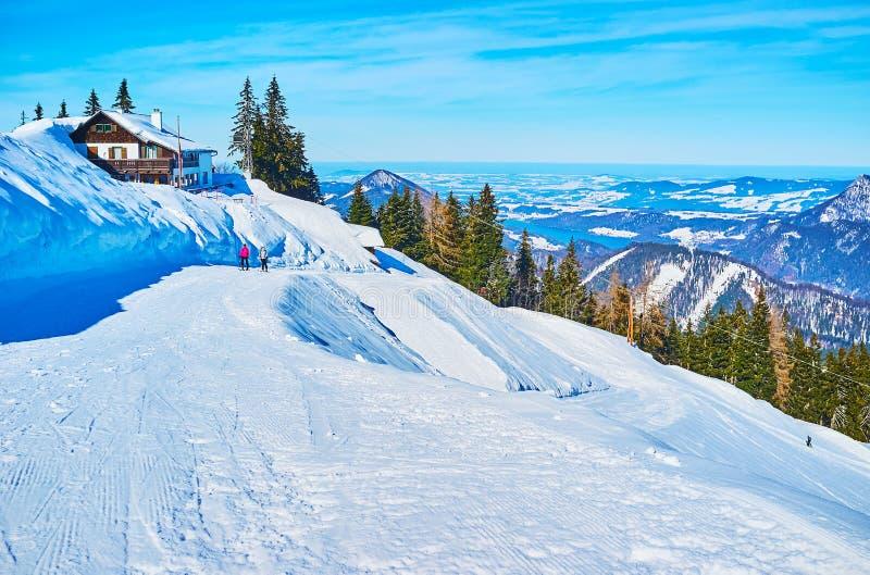 The pistes on Zwolferhorn, St Gilden, Salzkammergut, Austria. Zwolferhorn mount boasts perfect pistes, nice views, numerous viewing terraces, interesting stock photos