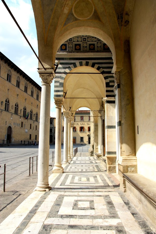 Pistoia cathedral, Tuscany, Italy. A view of the arches in front of the cathedral of Pistoia in Tuscany, Italy royalty free stock image