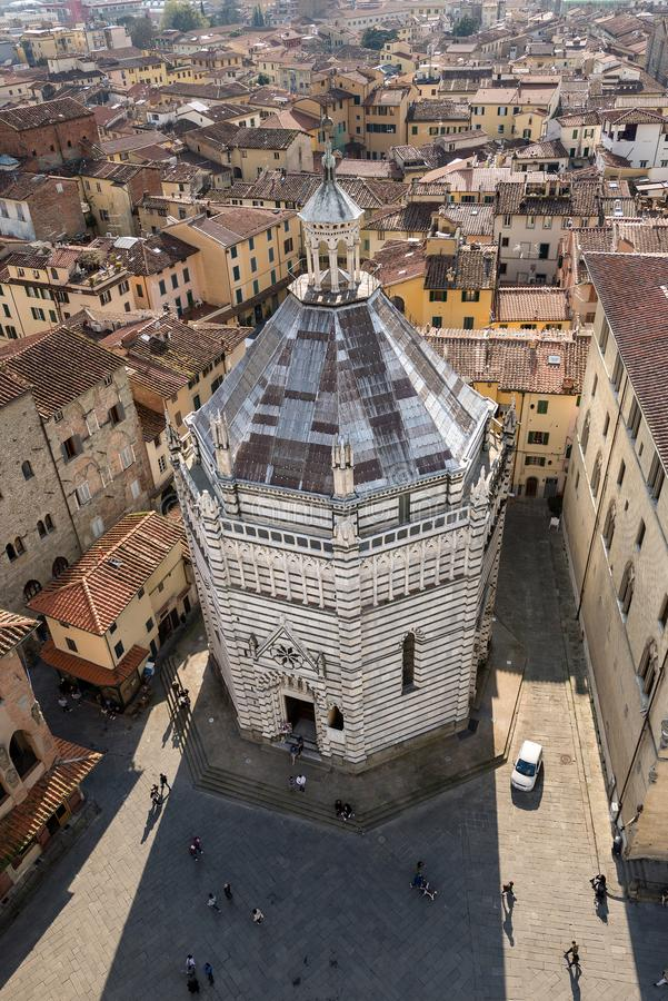 Pistoia Italy - Baptistery of San Giovanni. Baptistery of San Giovanni in corte or Ritondo 1303-1361 in Cathedral square Piazza Duomo. Pistoia, Tuscany, Italy royalty free stock image