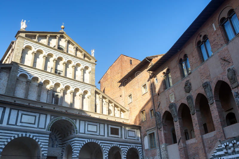 Pistoia (Tuscany, Italy). Facade of the medieval cathedral stock photography