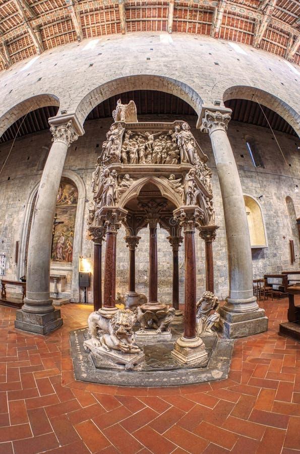 Pistoia, Tuscany, Italy Fisheye View Of Pisano Pulpit ...