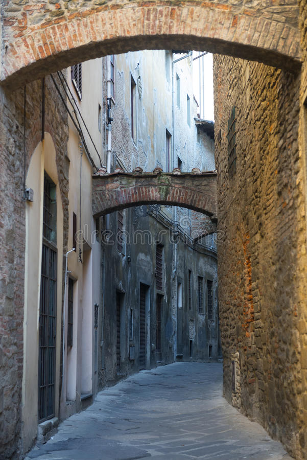 Pistoia (Tuscany, Italy). Typical street in the medieval town stock images