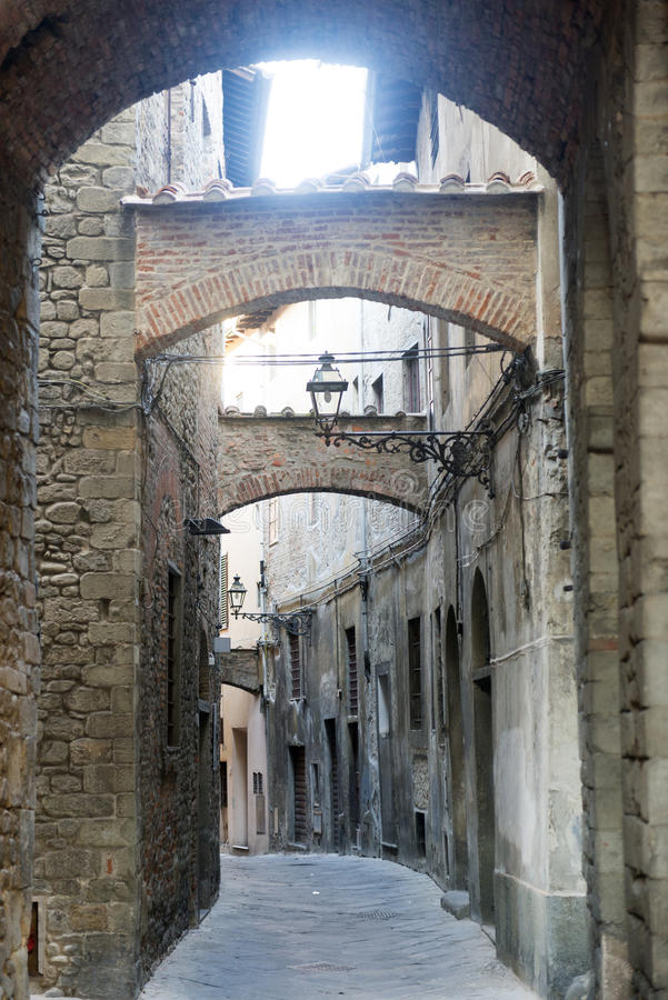 Pistoia (Tuscany, Italy). Typical street in the medieval town royalty free stock photography