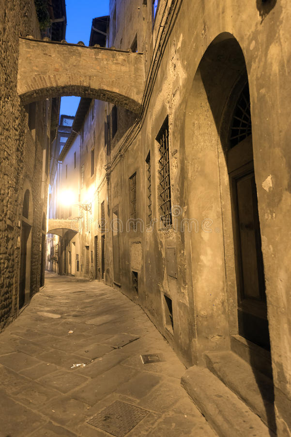 Pistoia (Tuscany, Italy). Typical street in the medieval town at evening stock images