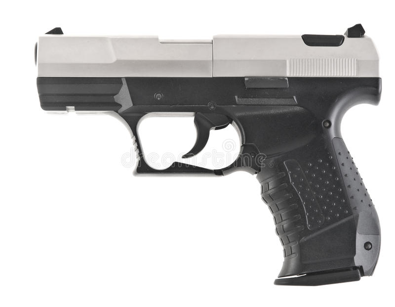 Pistol. Automatic pistol on a white background royalty free stock images