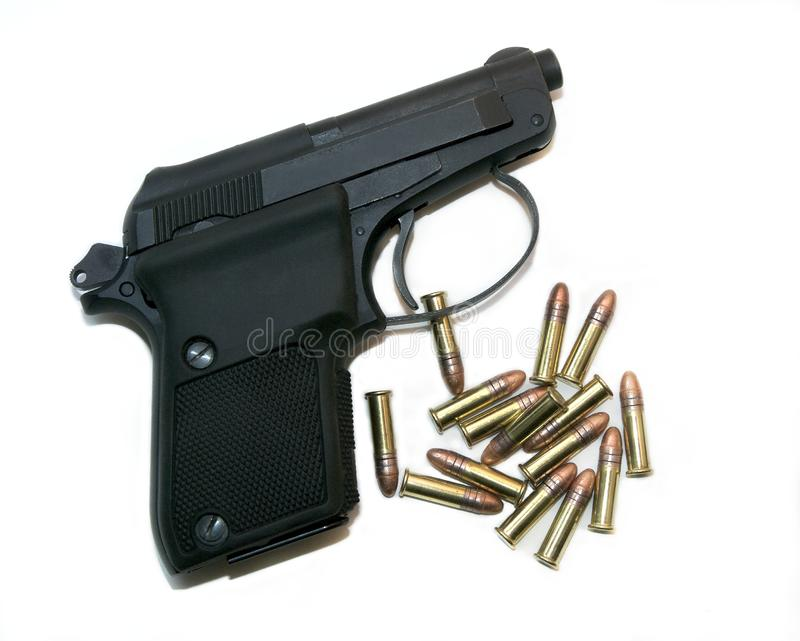 Pistol With Ammo royalty free stock image