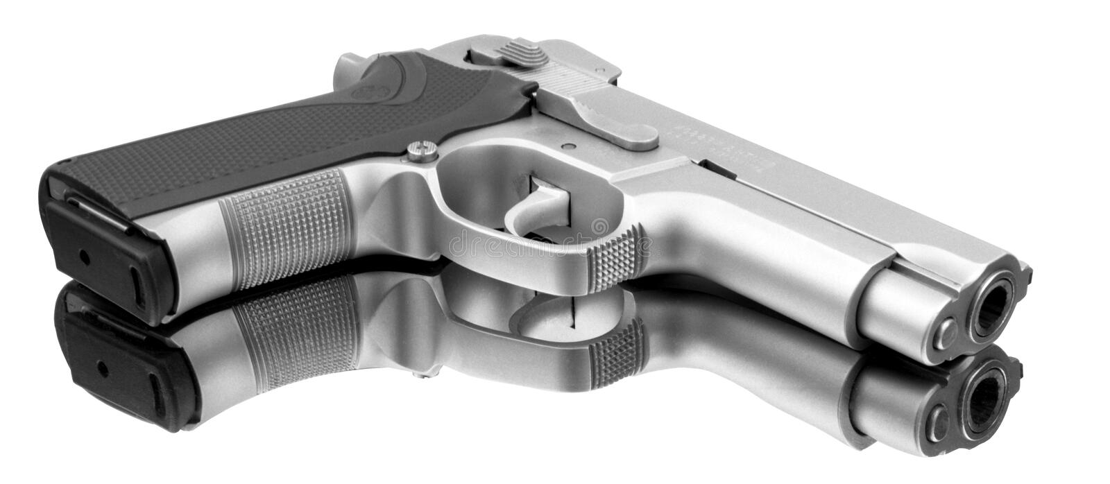 Pistol Automatic. Fine automatic pistol with a perfect reflection royalty free stock photography