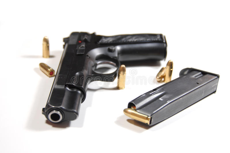 Download Pistol and bullets stock photo. Image of crime, steel - 12558582