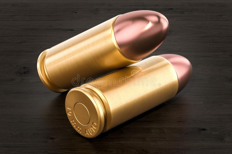 Pistol bullets on the wooden table, 3D rendering stock illustration