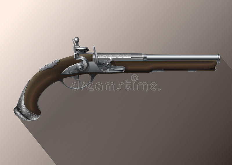 Pistol, flintlock. Pirates pistol, old handgun with flintlock royalty free illustration