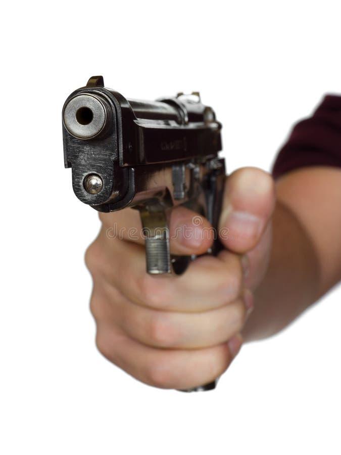 Pistol in hand stock images