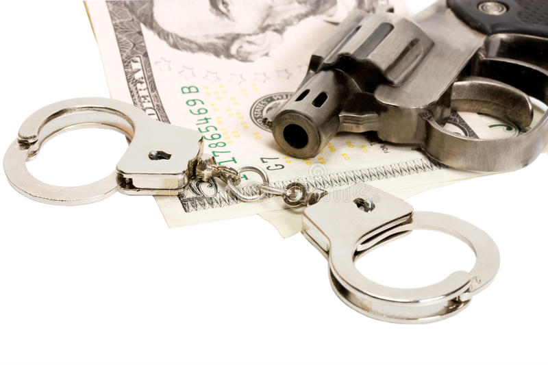 Download Pistol Handcuffs Money Stock Image - Image: 24251541