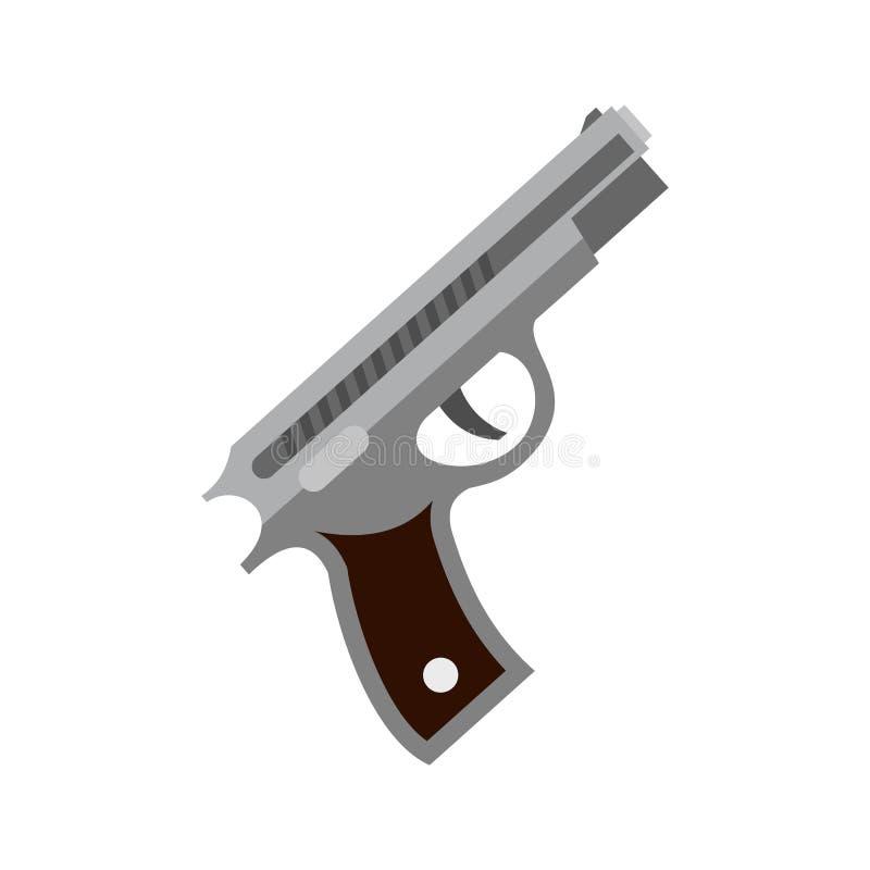 Pistol icon, flat style stock illustration