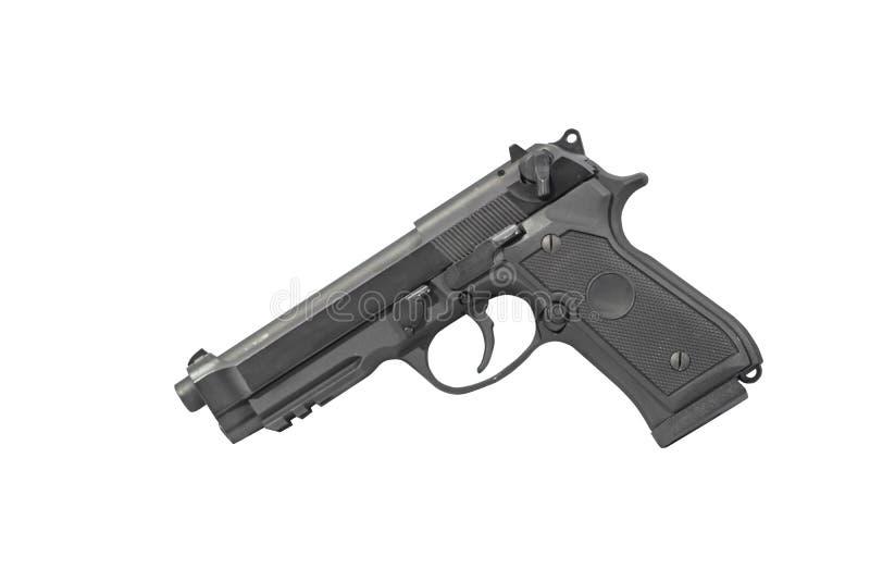Pistol M9 militära Carry Isolated på lämnad vit bakgrund fotografering för bildbyråer