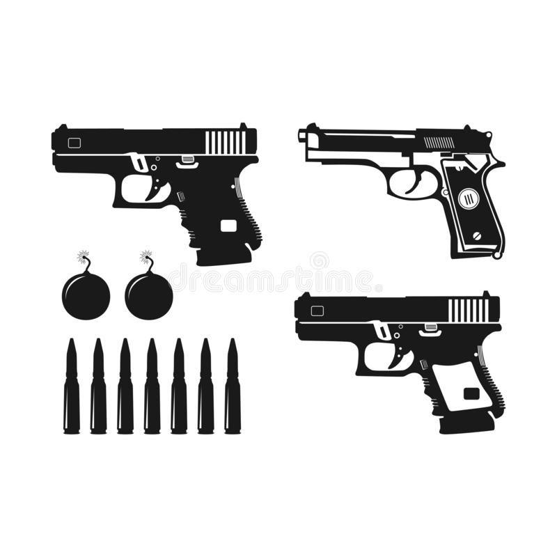 Pistol- och kuldesigner av olika typer stock illustrationer