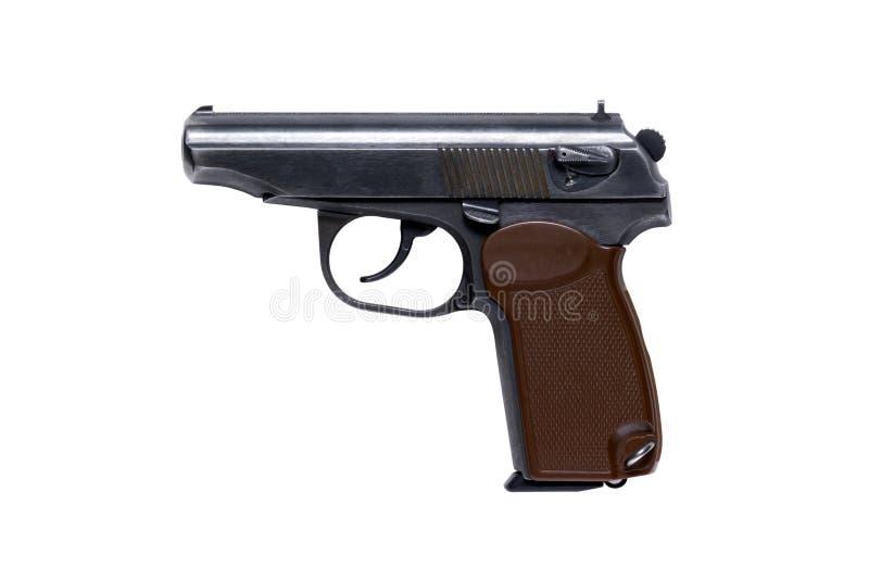 Pistol på den vita bakgrundsisolaten arkivfoto