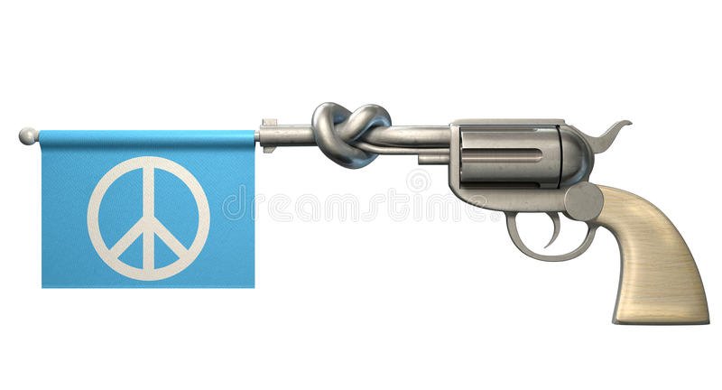 Pistol Peace Flag. A six shooter gun with a knotted barrel with a blue flag coming out with a peace symbol on it on an isolated white background stock image