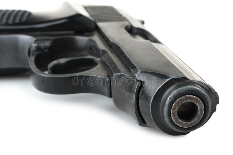 Pistol. Police pistol on white background stock image