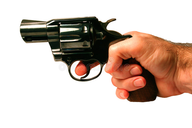 Pistol revolver. 357 pistol revolver with hand royalty free stock photo