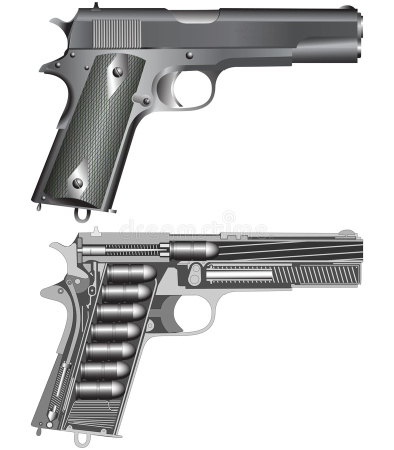 Pistol scheme. Detailed pistol scheme isolated on white(vector illustration royalty free illustration