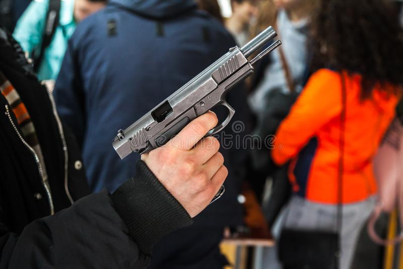 Pistol -  firearms for shooting. Pistol - short firearms for shooting at short distances stock photography