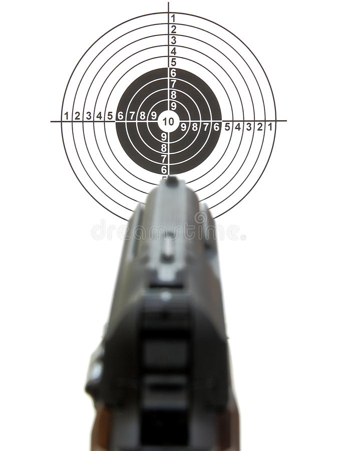 Pistol a target. Kind on a target for shooting through a pistol front sight on a white background stock photo