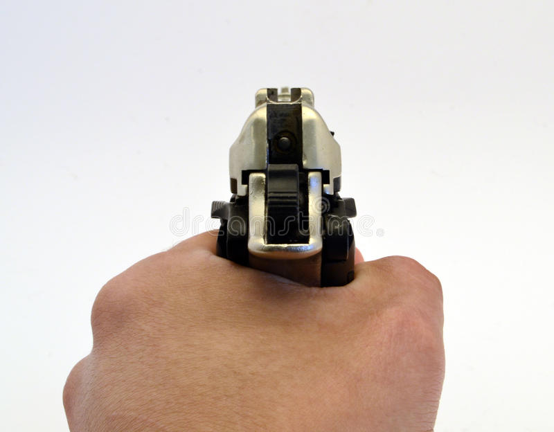 Pistol. Targeting with a blank pistol royalty free stock photography