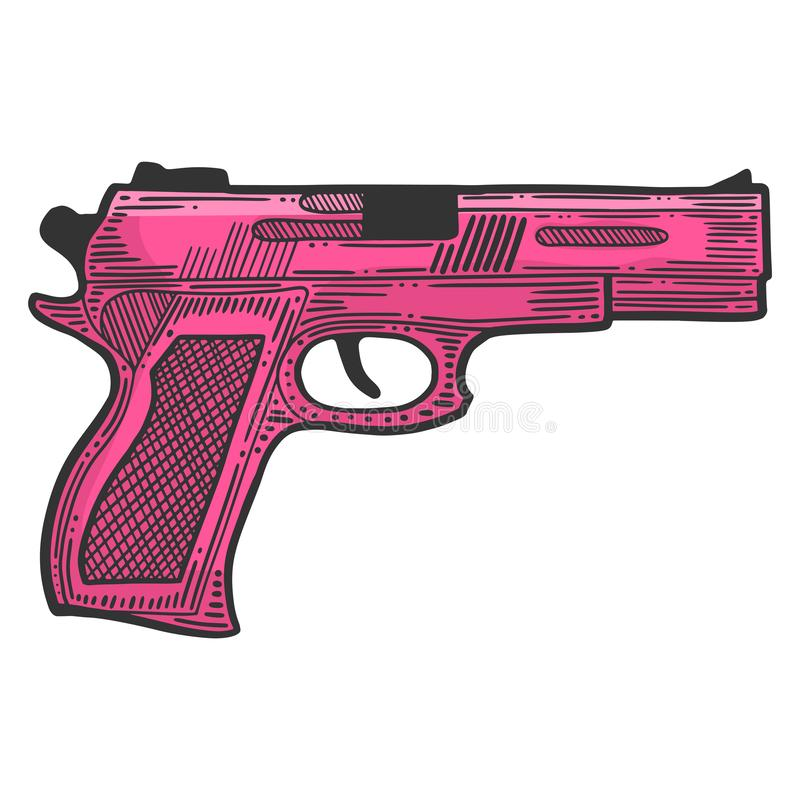 Pistola, arma de fuego para la protección Vector en estilo del garabato y del bosquejo stock de ilustración