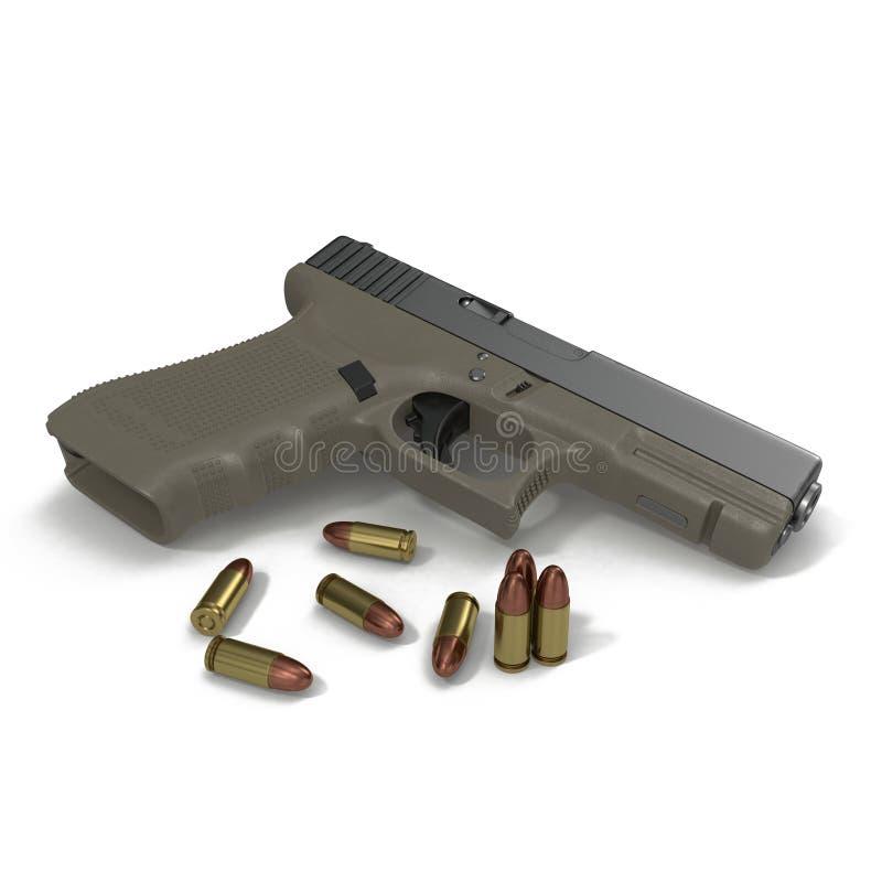 Pistola automática com munição no branco ilustração 3D ilustração do vetor