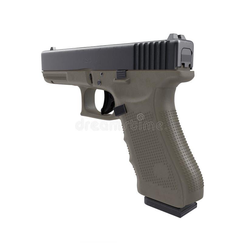 Pistola automática de la arma de mano de 9m m aislada en blanco ilustración 3D ilustración del vector