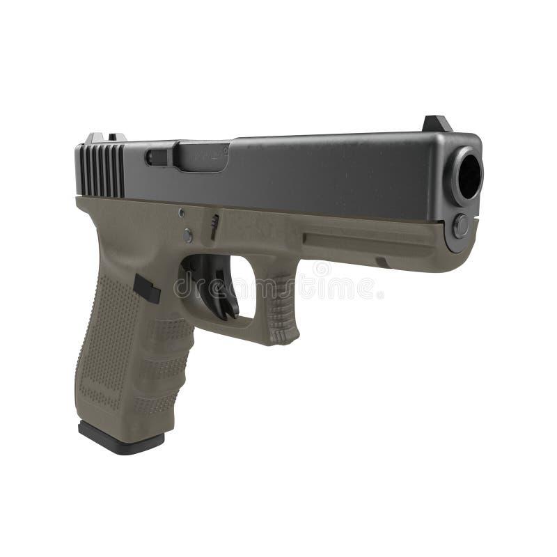 Pistola automática de la arma de mano de 9m m aislada en blanco ilustración 3D libre illustration