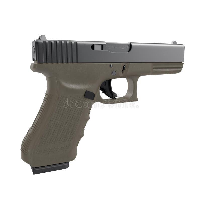 Pistola automática de la arma de mano de 9m m aislada en blanco ilustración 3D stock de ilustración