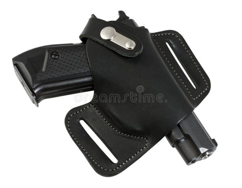 Pistola automática en color del negro de la pistolera. fotografía de archivo