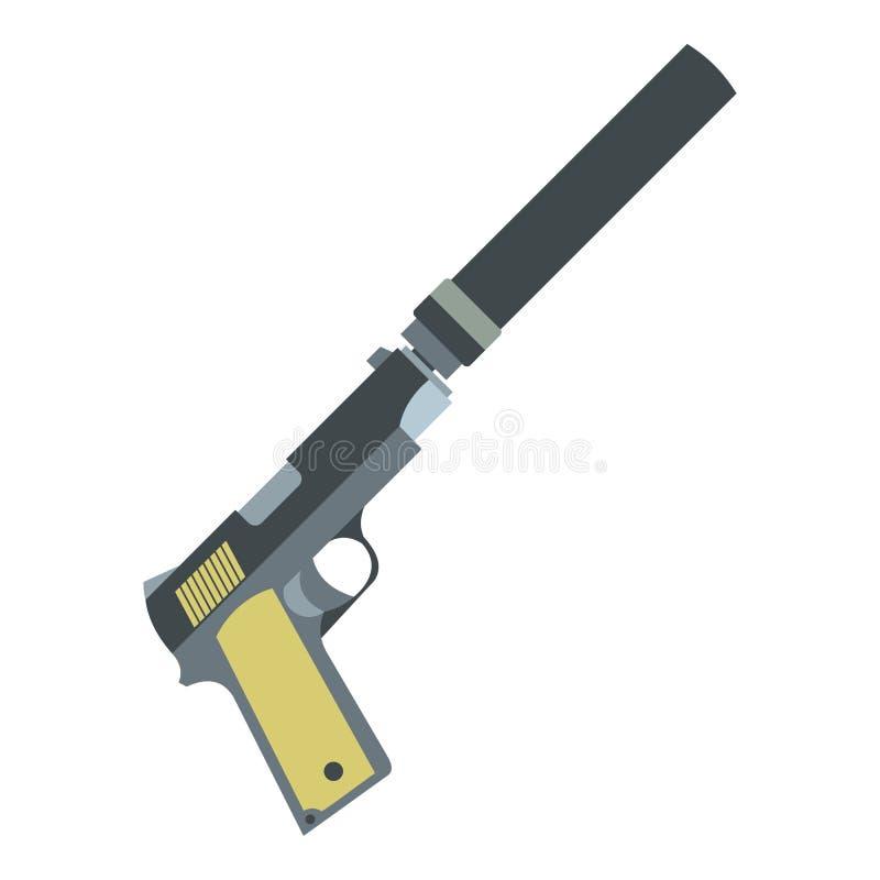 Pistola com ícone liso do silenciador ilustração royalty free