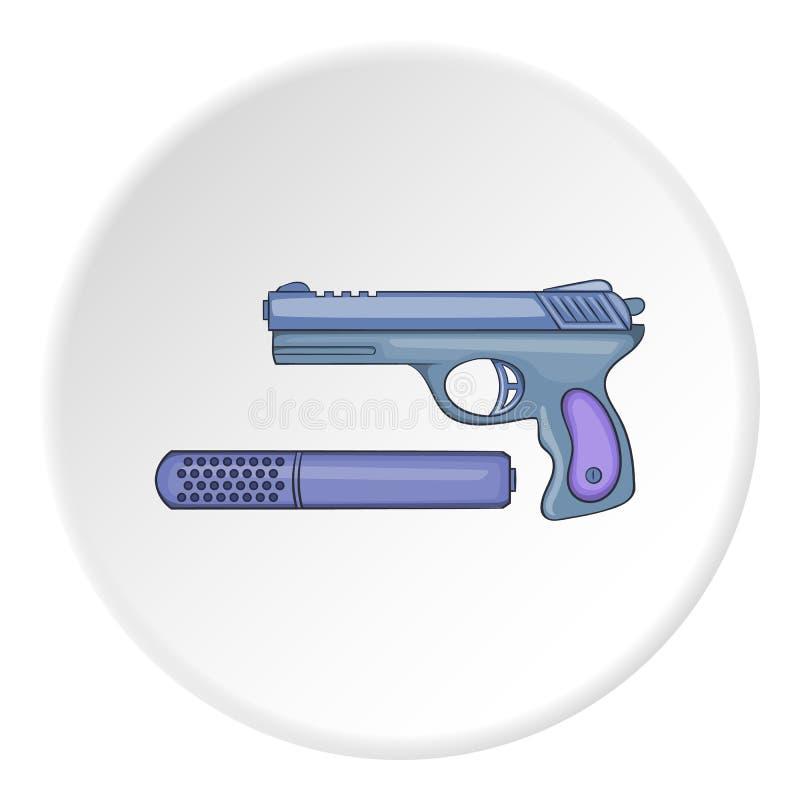 Pistola com um ícone do silenciador, estilo dos desenhos animados ilustração royalty free