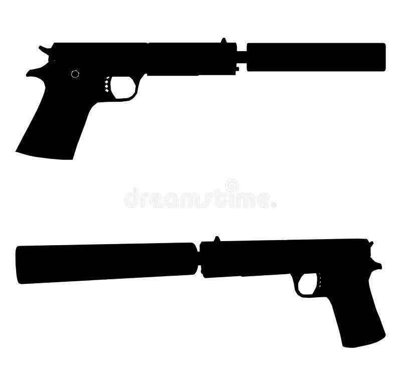 Pistola com vetor 01 do Silencer ilustração royalty free