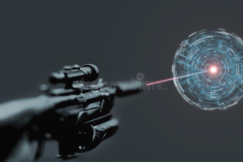 Pistola del fucile di tiratore franco con il laser rosso allegato che tende gli obiettivi del dispositivo e fissare obiettivo con fotografia stock