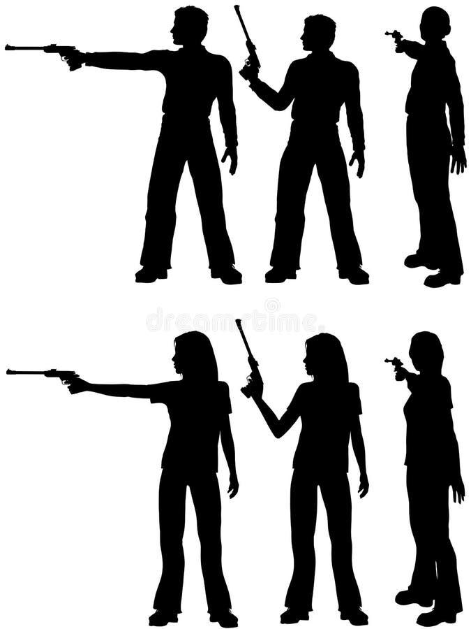 Pistola dell'obiettivo del tiro della donna dell'uomo della siluetta illustrazione di stock