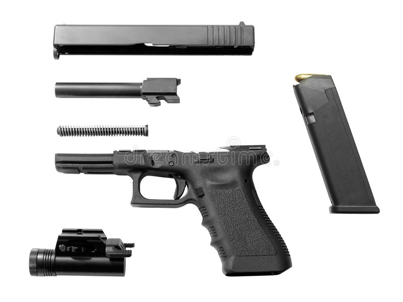 Pistola desensamblada fotografía de archivo libre de regalías