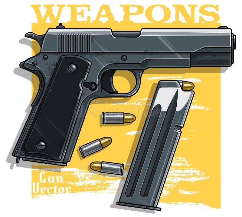 Pistola detalhada gráfica do revólver com grampo da munição ilustração stock